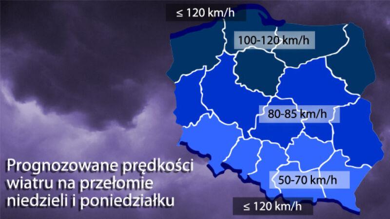 27 listopada - prędkość wiatru w Polsce/TVN Meteo