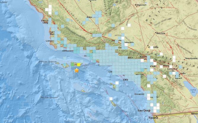 Zasięg odczuwanych wstrząsów - zgłoszenia od mieszkańców (USGS)