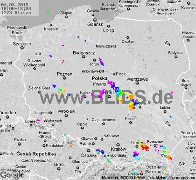 Ścieżka burz w godzinach 16-18 (blids.de)
