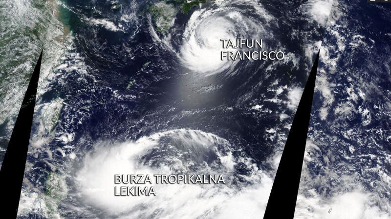 Lekima i Francisco na zdjęciu satelitarnym (worldview.earthdata.nasa.gov)