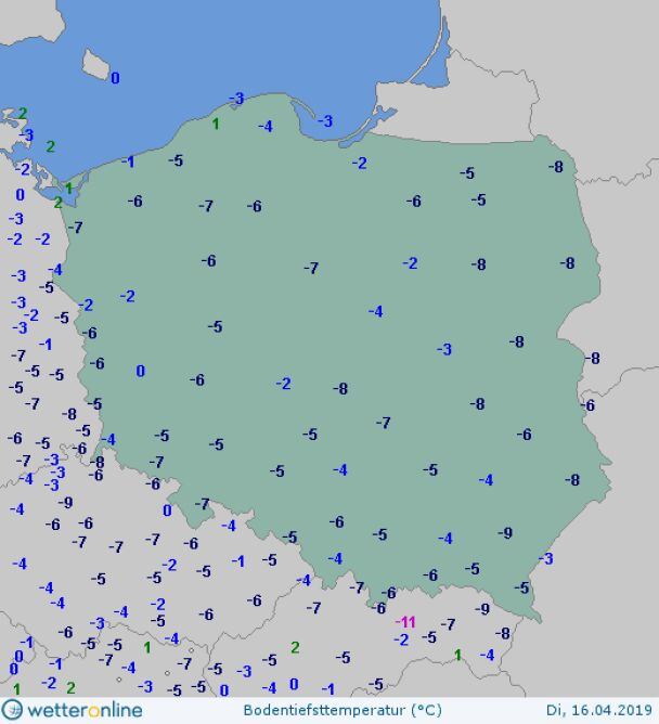 Temperatura przy gruncie we wtorek o poranku (wetteronline.de)