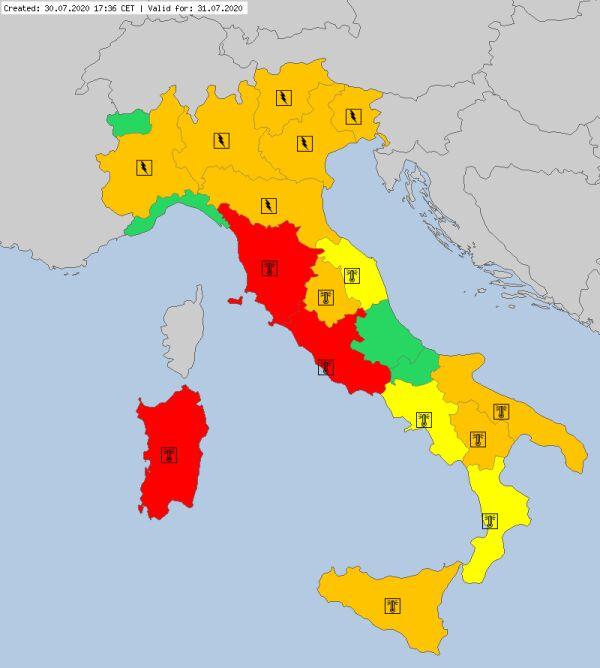 Ostrzeżenia meteorologiczne dla Włoszech na piątek (meteoalarm.eu)