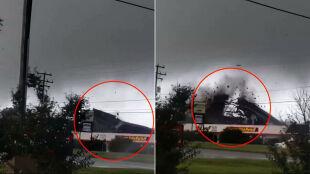 """""""Stary! Tornado rozrywa budynek!"""". Nawet 12 trąb powietrznych nad stanem Wirginia"""