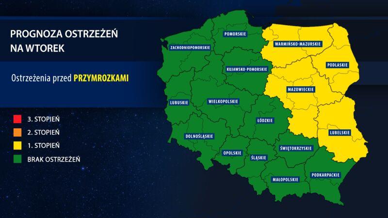 Prognoza zagrożeń na wtorek (tvnmeteo.pl za IMGW)